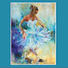 Ballerina Performing Curtsy - May page of Dance & Ballet Calendar - Paintings of Woking Surrey Artist Sera Knight
